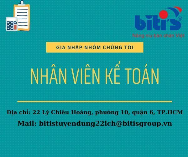 <Tổng công ty Bitis_Công ty TNHH SX HTD Bình Tiên> Vị trí: NHÂN VIÊN KẾ TOÁN