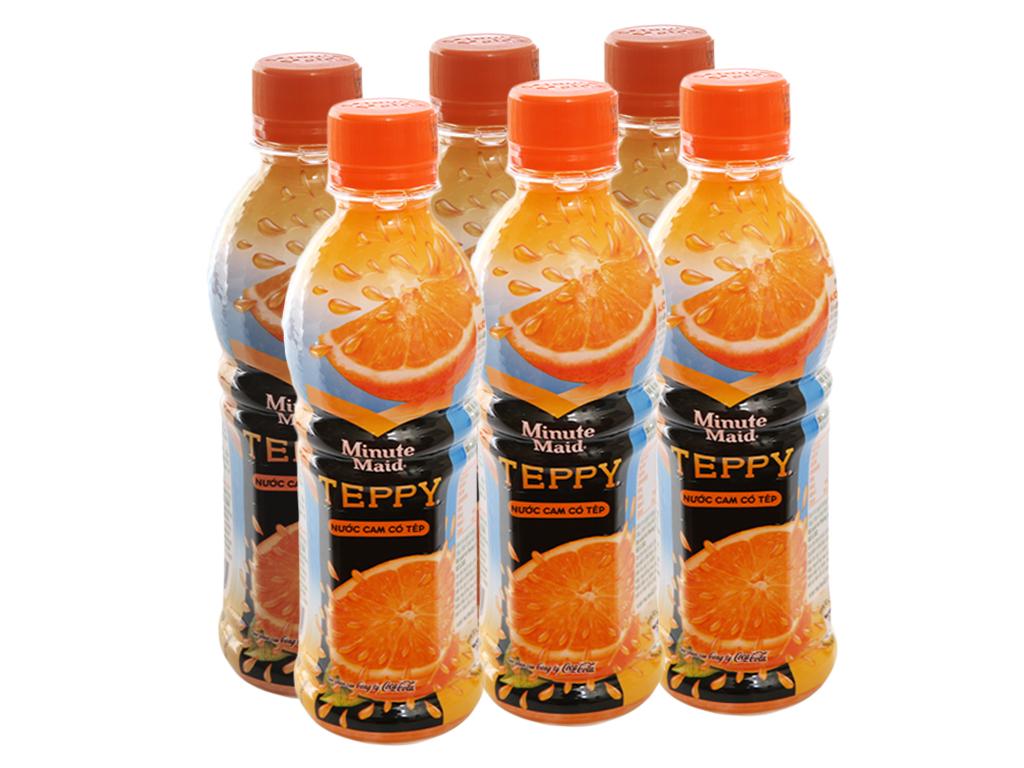 Lốc 6 chai nước cam có tép Teppy