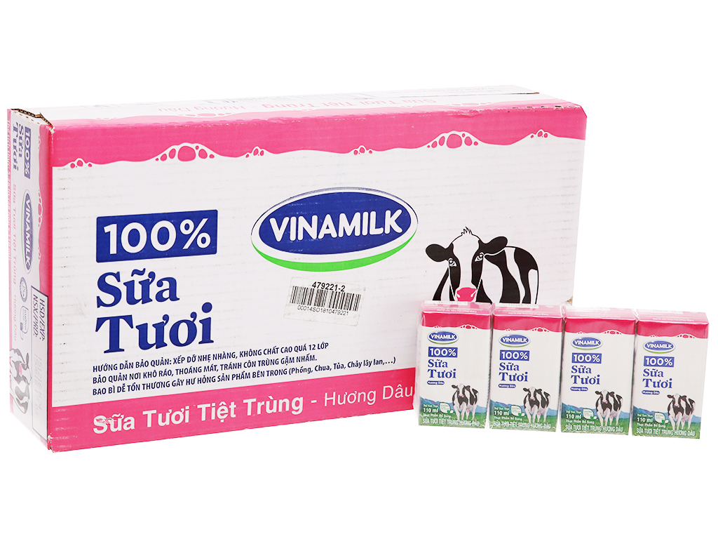 1 Thùng 48 hộp sữa tươi hương dâu Vinamilk
